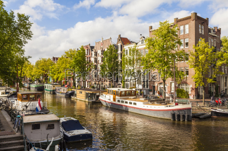 netherlands amsterdam houseboats at brouwersgracht