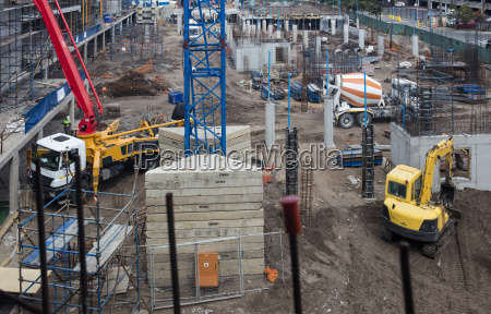 concrete pump and other machinery on