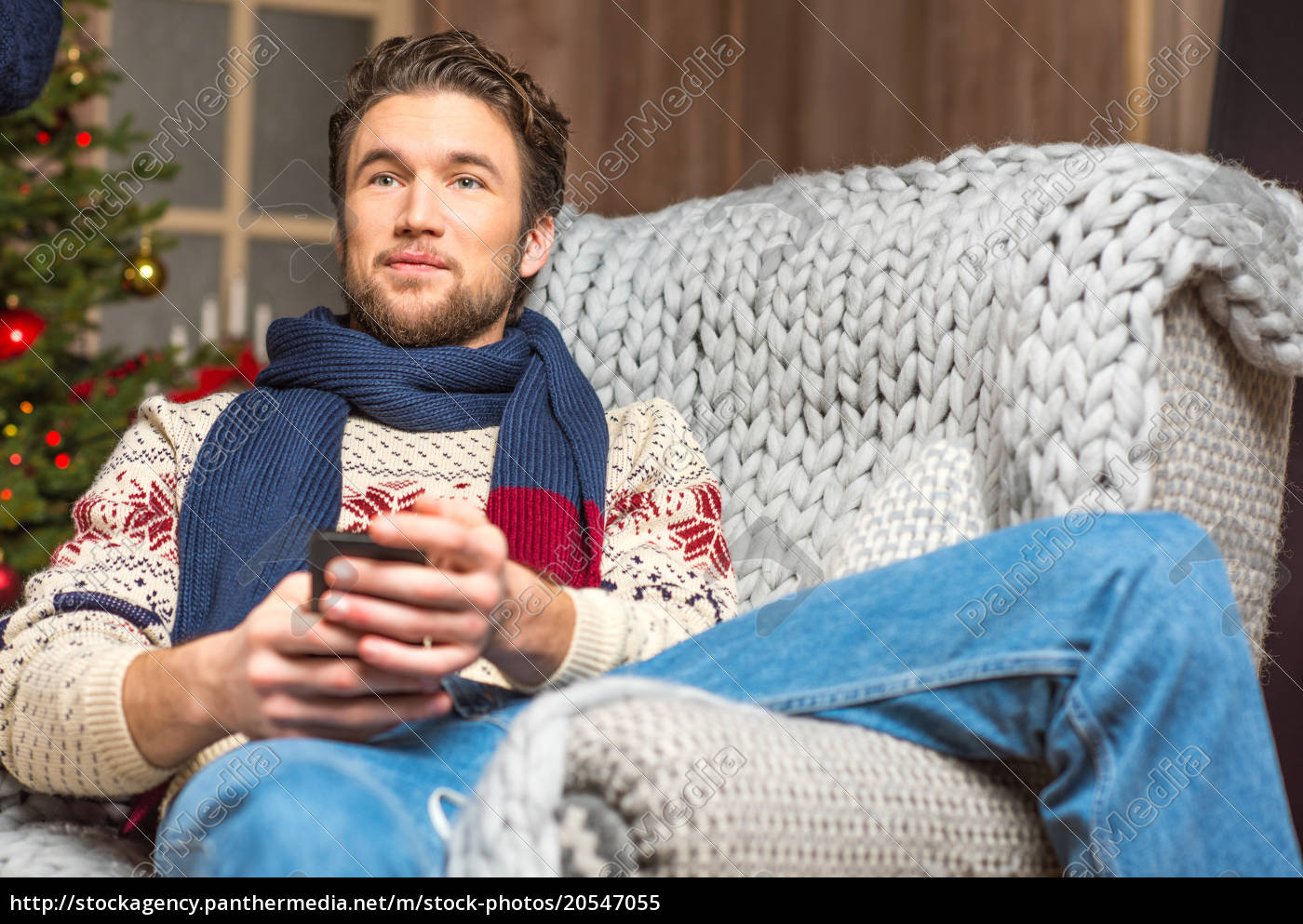 handsome, man, in, sweater, sitting, in - 20547055