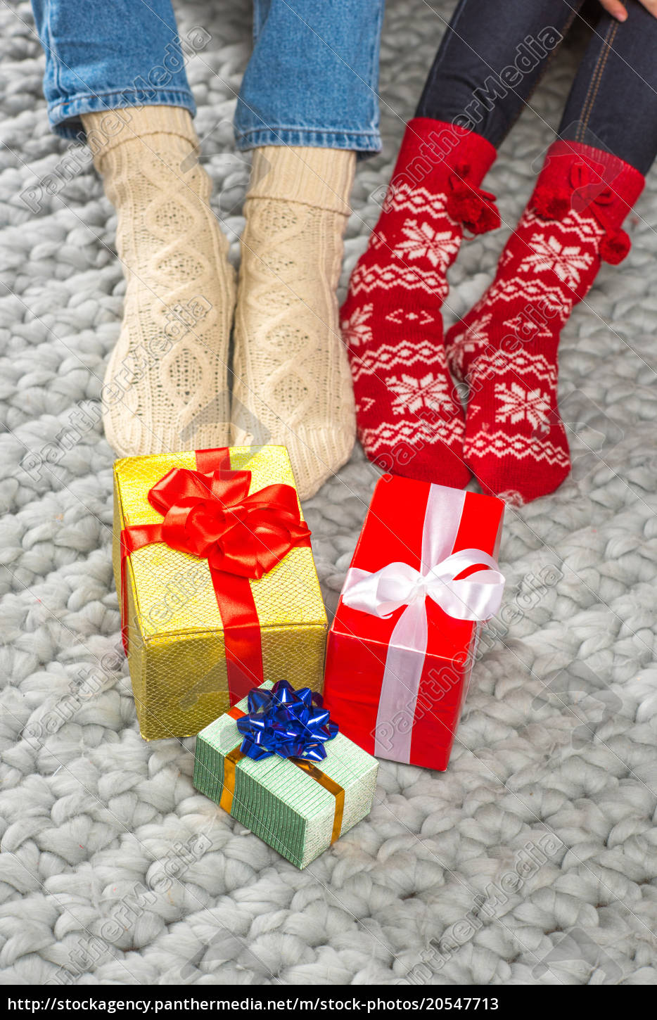 legs, in, knitted, socks, and, christmas - 20547713