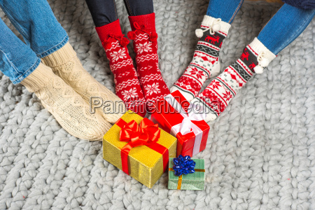 legs, in, knitted, socks, and, christmas - 20547715