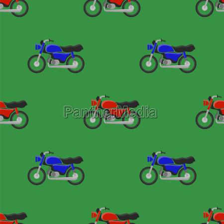 red blue sport bike seamless pattern