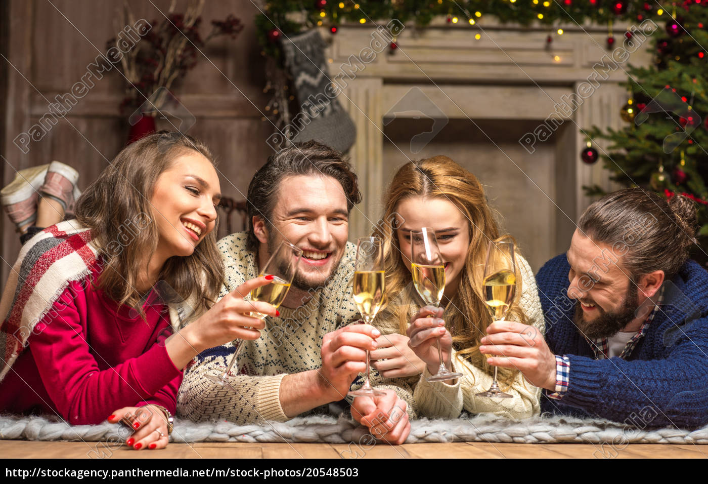 happy, people, with, glasses, of, champagne - 20548503