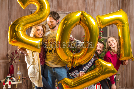 happy, people, with, golden, balloons - 20548515