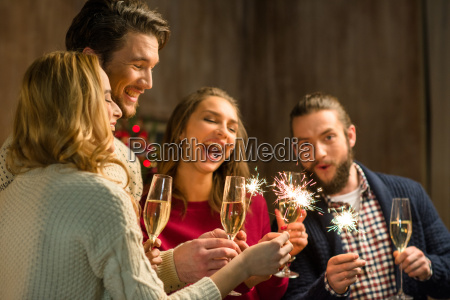 people, with, champagne, and, sparklers - 20548507