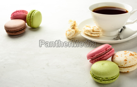 tea with macaroons copy space