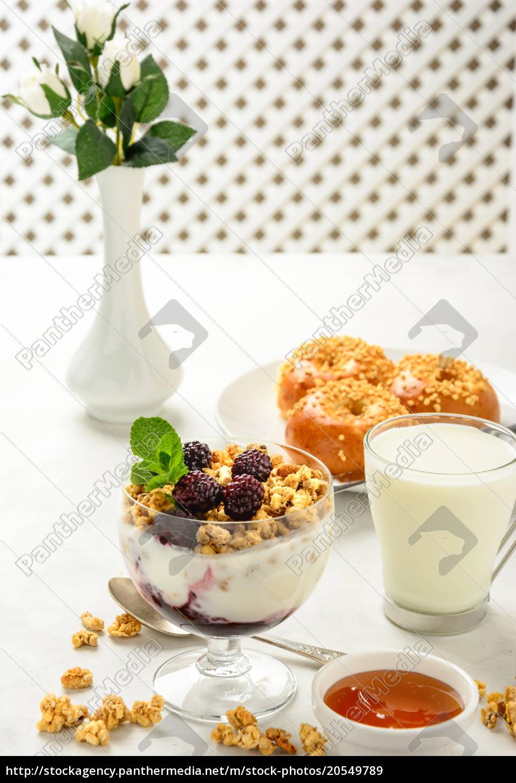 breakfast, of, granola, , buns, brioche, , honey - 20549789