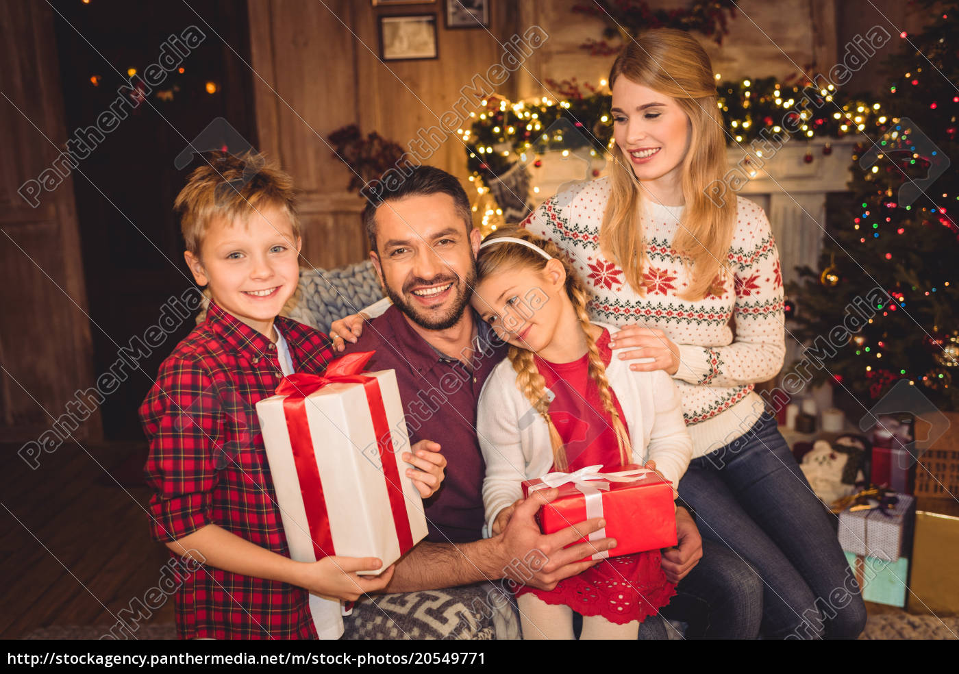 happy, family, with, christmas, presents - 20549771