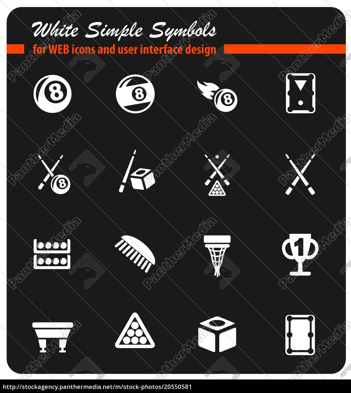 billiards, icon, set - 20550581