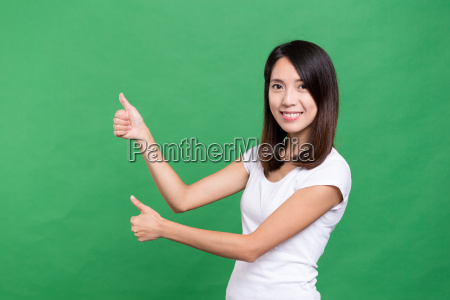 woman, holding, thumb, up - 20552921