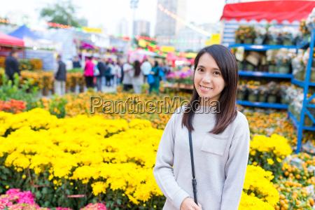woman, visit, chinese, flower, market - 20552887