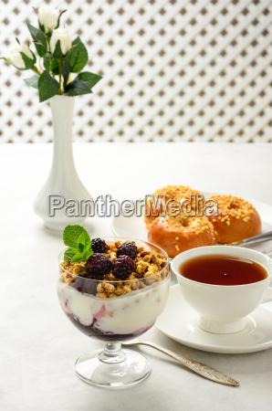 breakfast of granola buns brioche honey