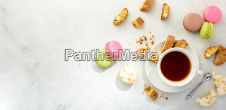 tea with cookies and macaroons