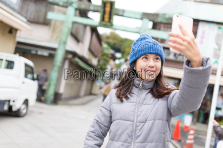 woman, taking, selfie, in, japan - 20553133