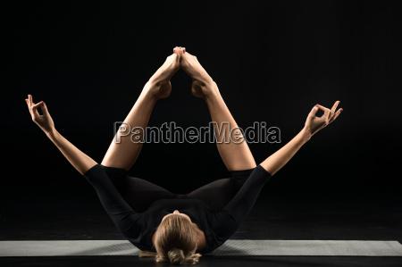 woman, lying, and, meditating - 20556849
