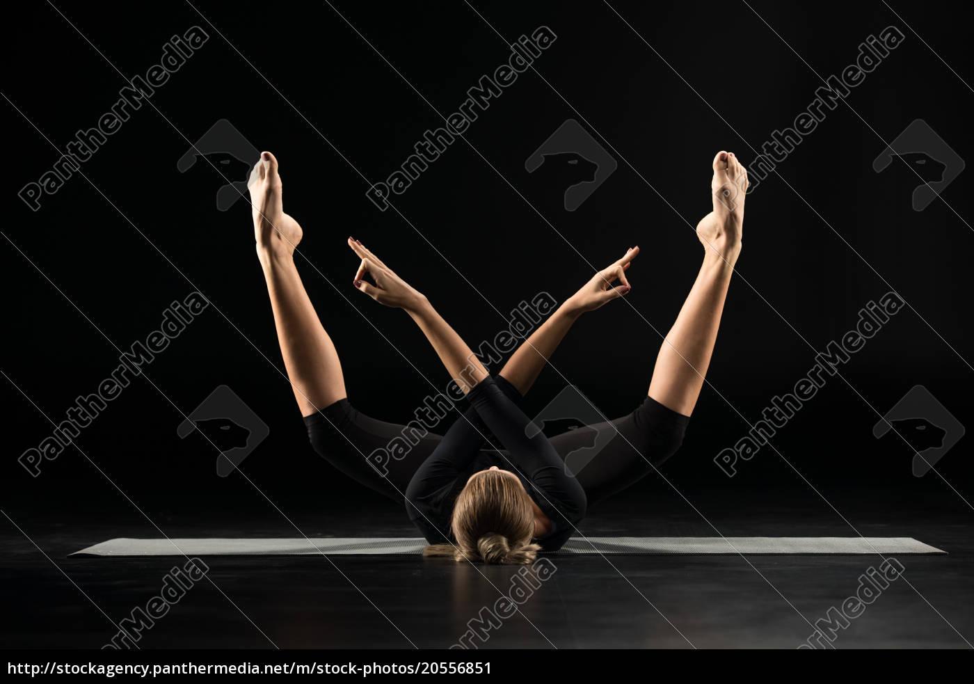 woman, lying, and, meditating - 20556851