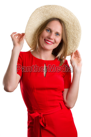 blonde woman in red dress with