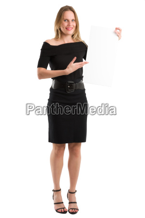 elegant woman holding a blank white