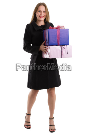 attractive woman in black coat with