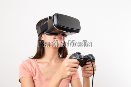 asian woman play game with virtual
