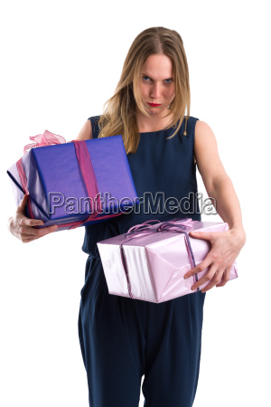 disgruntled, looking, woman, carrying, heavy, gift - 20557379