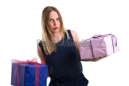 disgruntled, looking, woman, carrying, heavy, gift - 20557383
