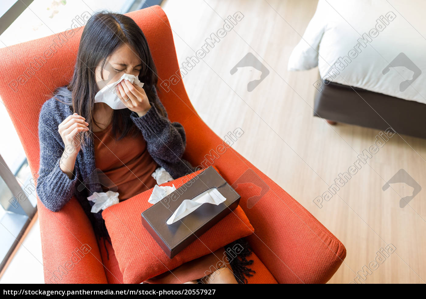 woman, feeling, sick, at, home - 20557927