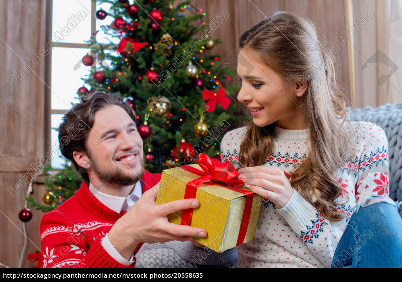 happy, couple, with, christmas, present - 20558635