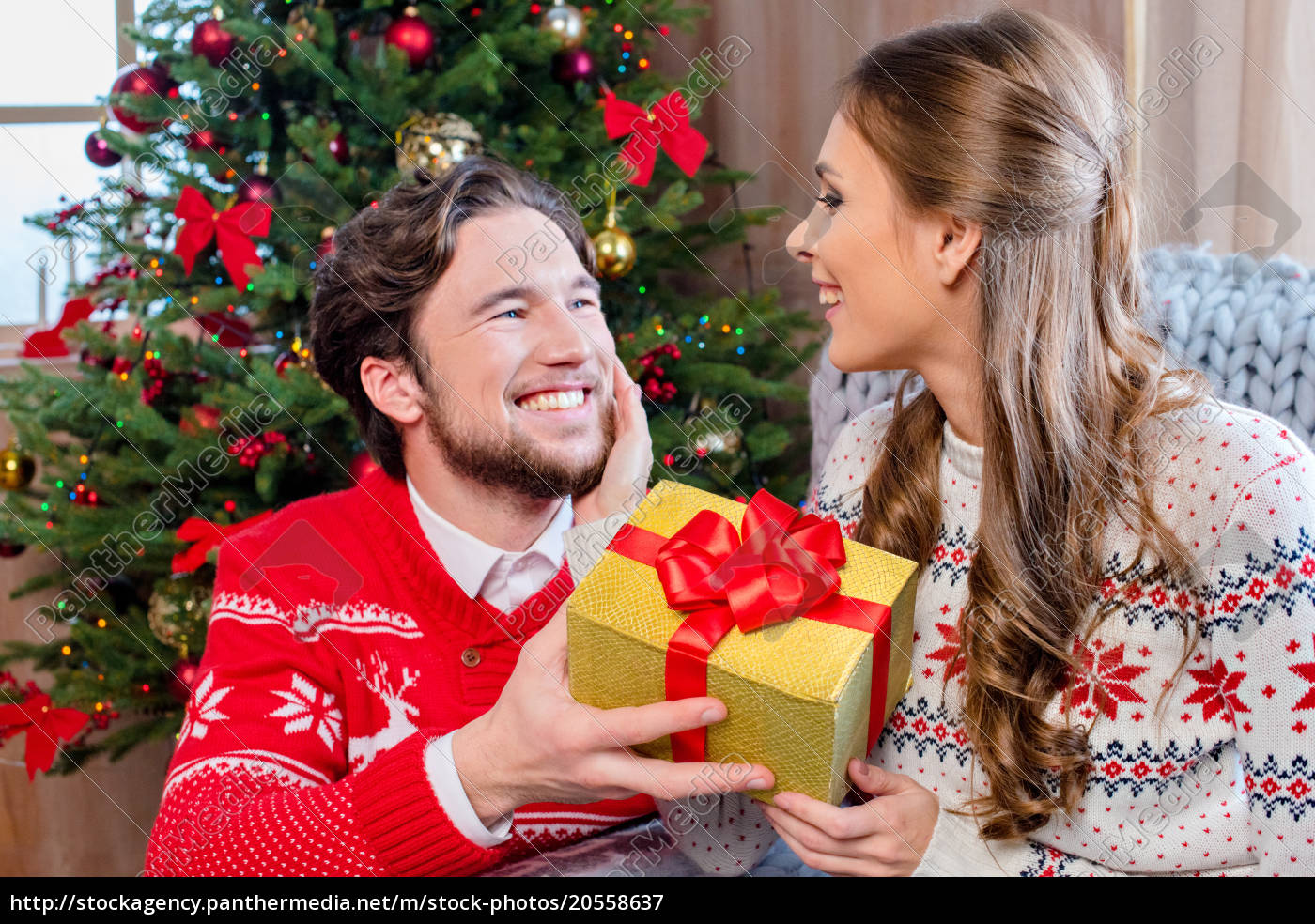 happy, couple, with, christmas, present - 20558637