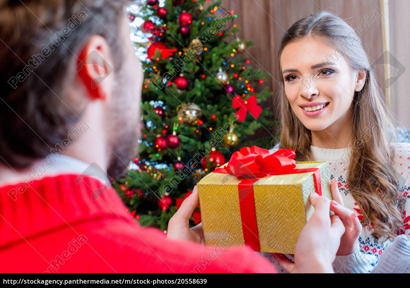 happy, couple, with, christmas, present - 20558639