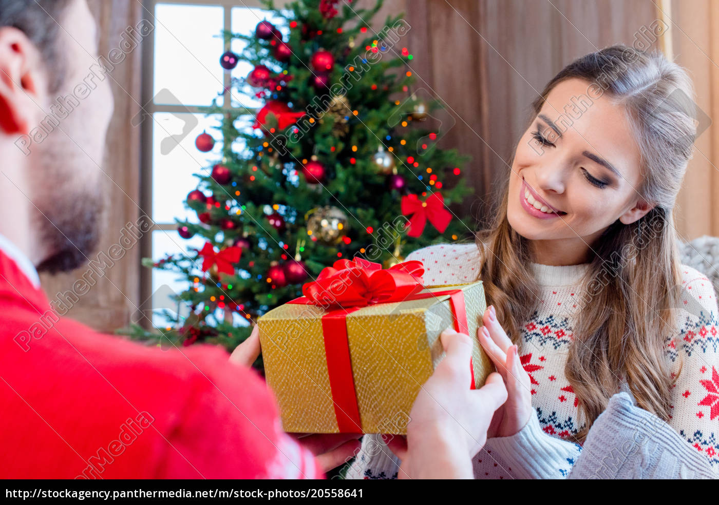 happy, couple, with, christmas, present - 20558641