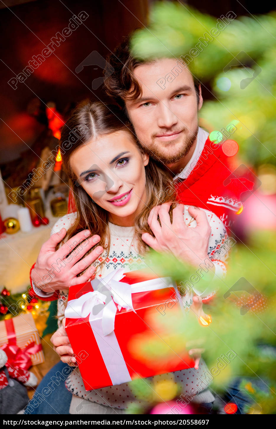 happy, couple, with, christmas, present - 20558697