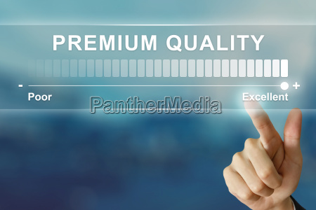 business hand clicking excellent premium quality