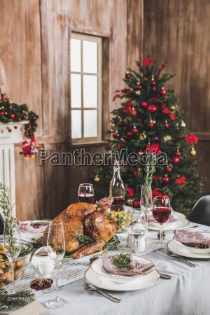 roasted turkey on holiday table