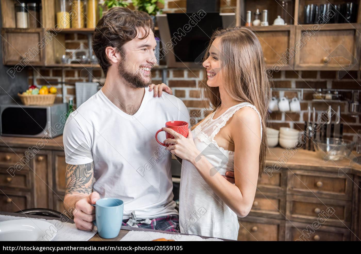 happy, couple, drinking, tea - 20559105