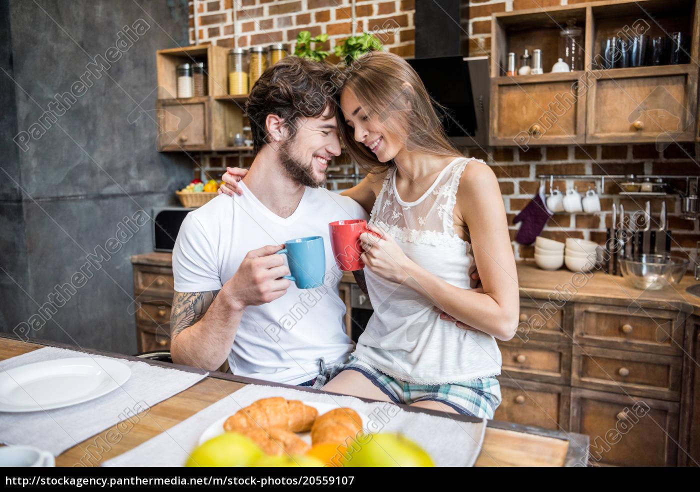 happy, couple, drinking, tea - 20559107