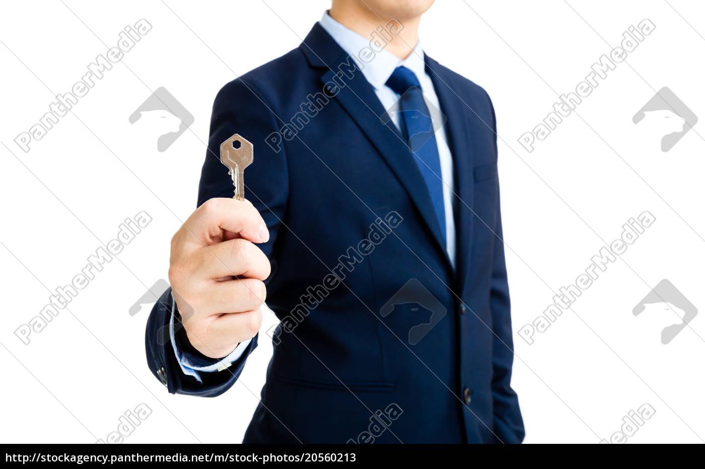 businessman, showing, a, key - 20560213