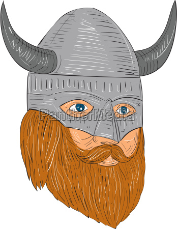 viking warrior head three quarter view
