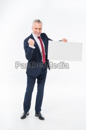 businessman, holding, blank, card - 20563087