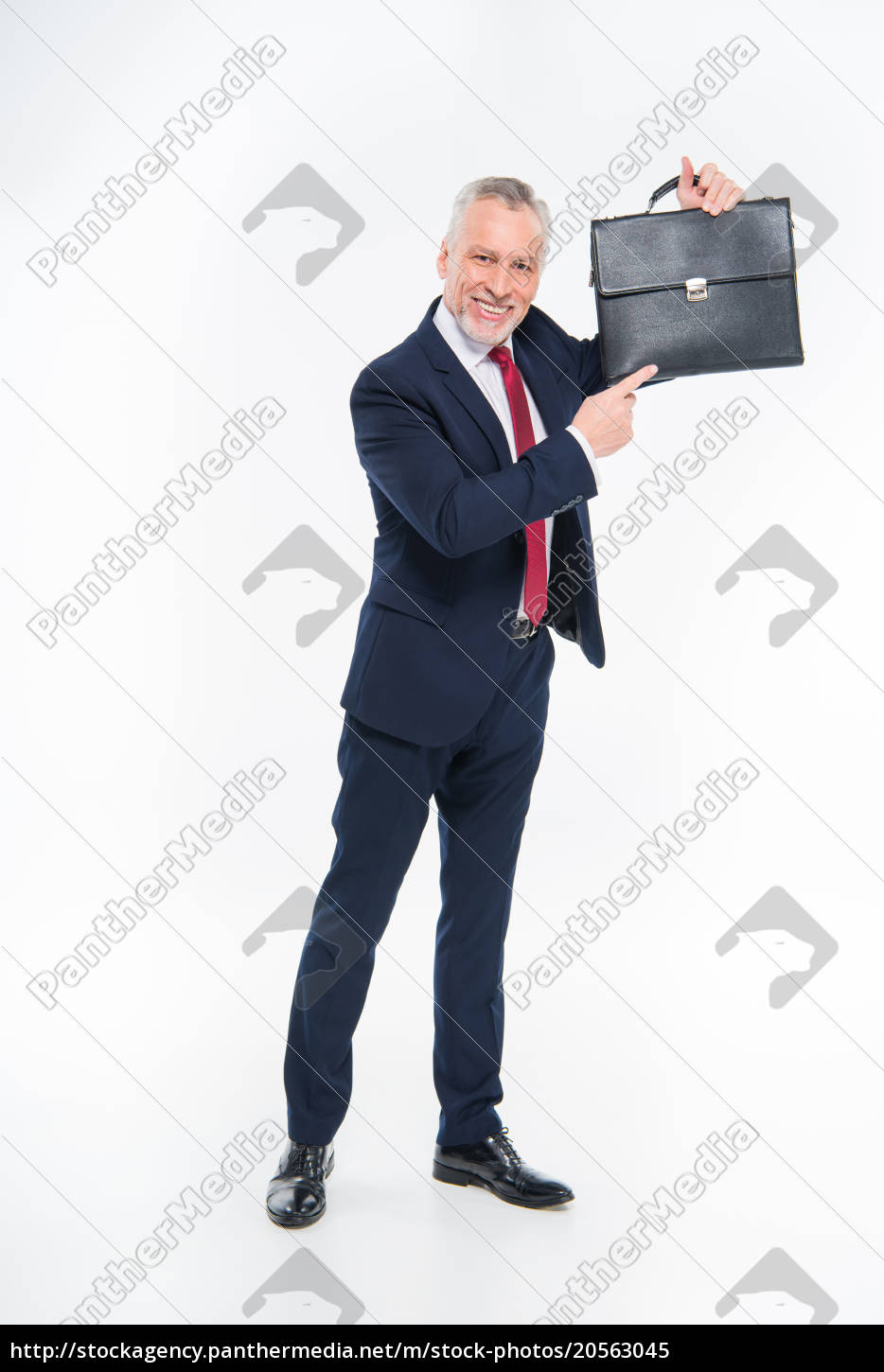 businessman, pointing, at, briefcase - 20563045