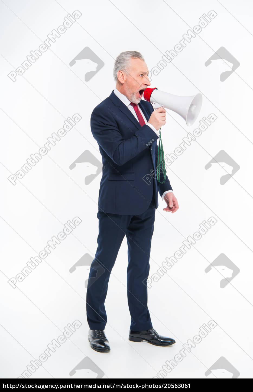 businessman, shouting, in, loudspeaker - 20563061