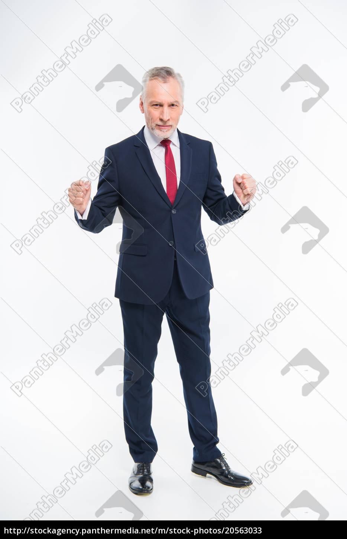 handsome, mature, businessman, triumphing - 20563033