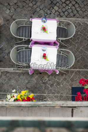 elevated view of a restaurant tables