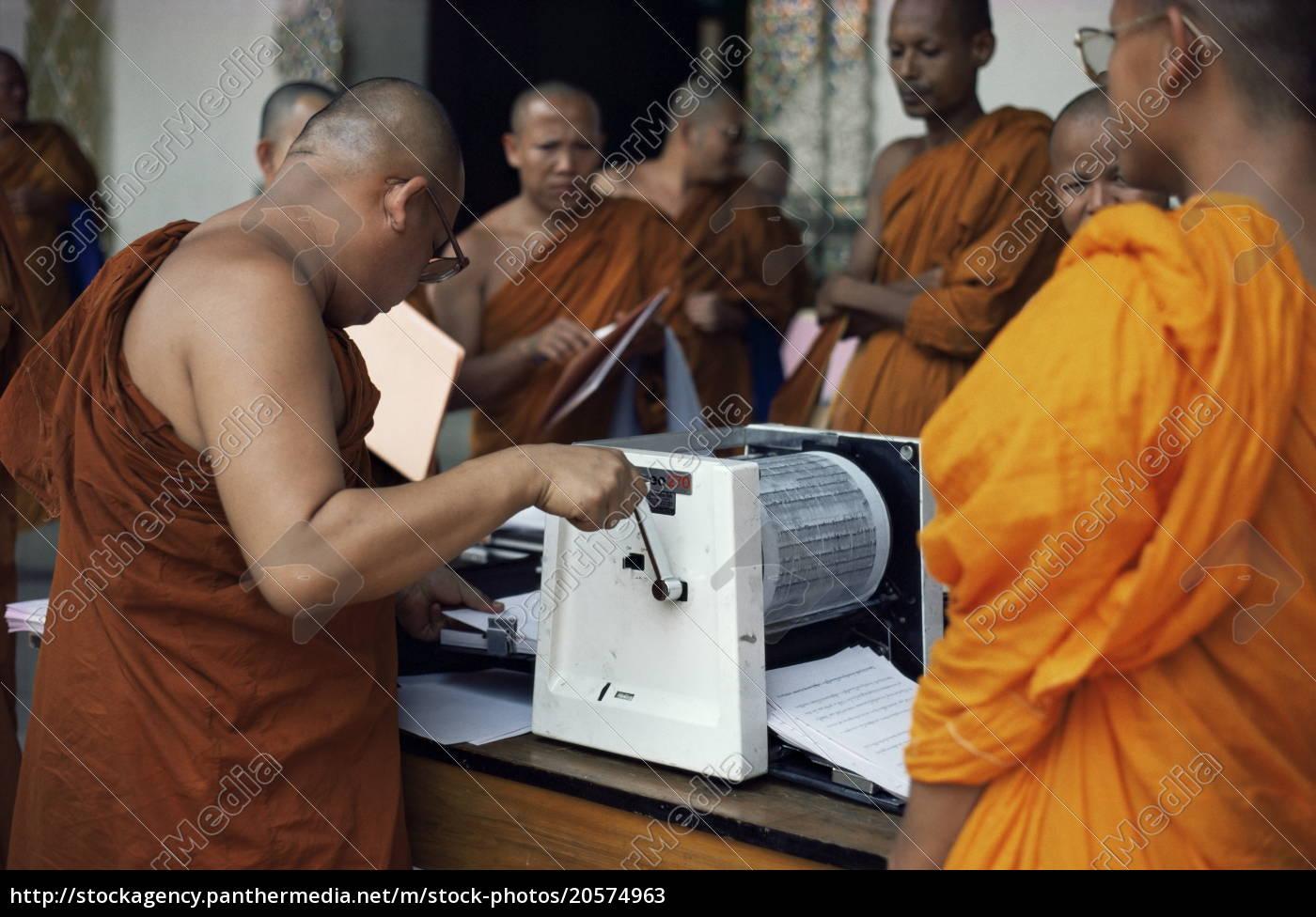buddhist, monks, using, stencil, machine, , lampoon, - 20574963
