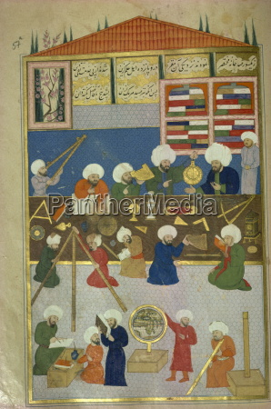 islamic manuscript showing astronomers at work
