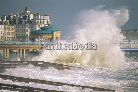 waves pounding bandstand storm in eastbourne