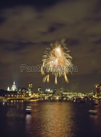 firework display over the river thames
