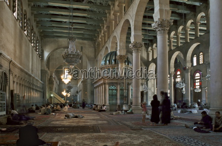 interior of omayad mosque in the