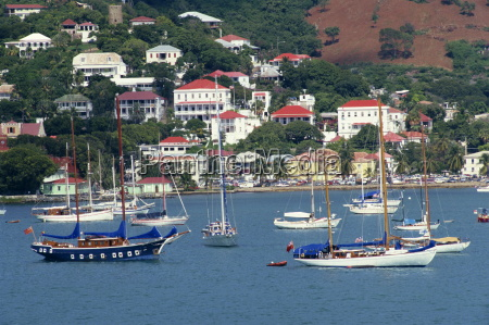 sailing boats moored off charlotte amalie