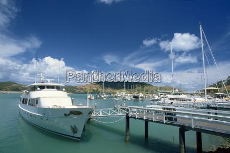 boat moored in hamilton harbour whitsundays